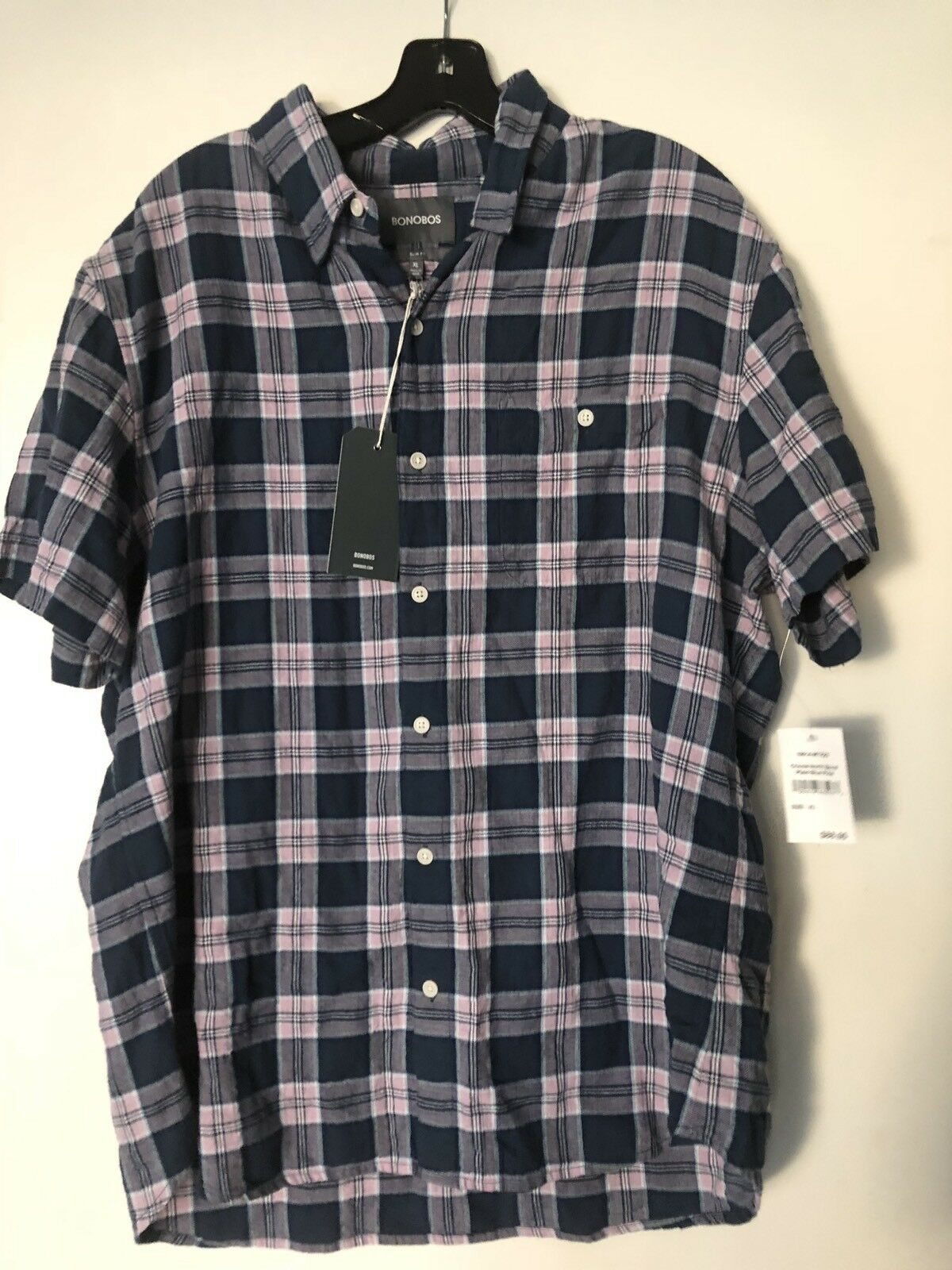 BONOBOS  Men's XL Crincle Crinkle North Bend Plaid Shirt bluee pine NWT