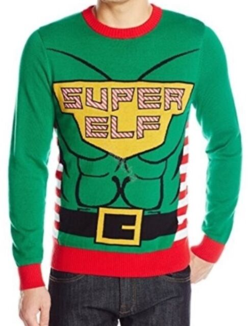 alex stevens mens super elf ugly christmas sweatergreensmall new free - Ugly Christmas Sweater Elf