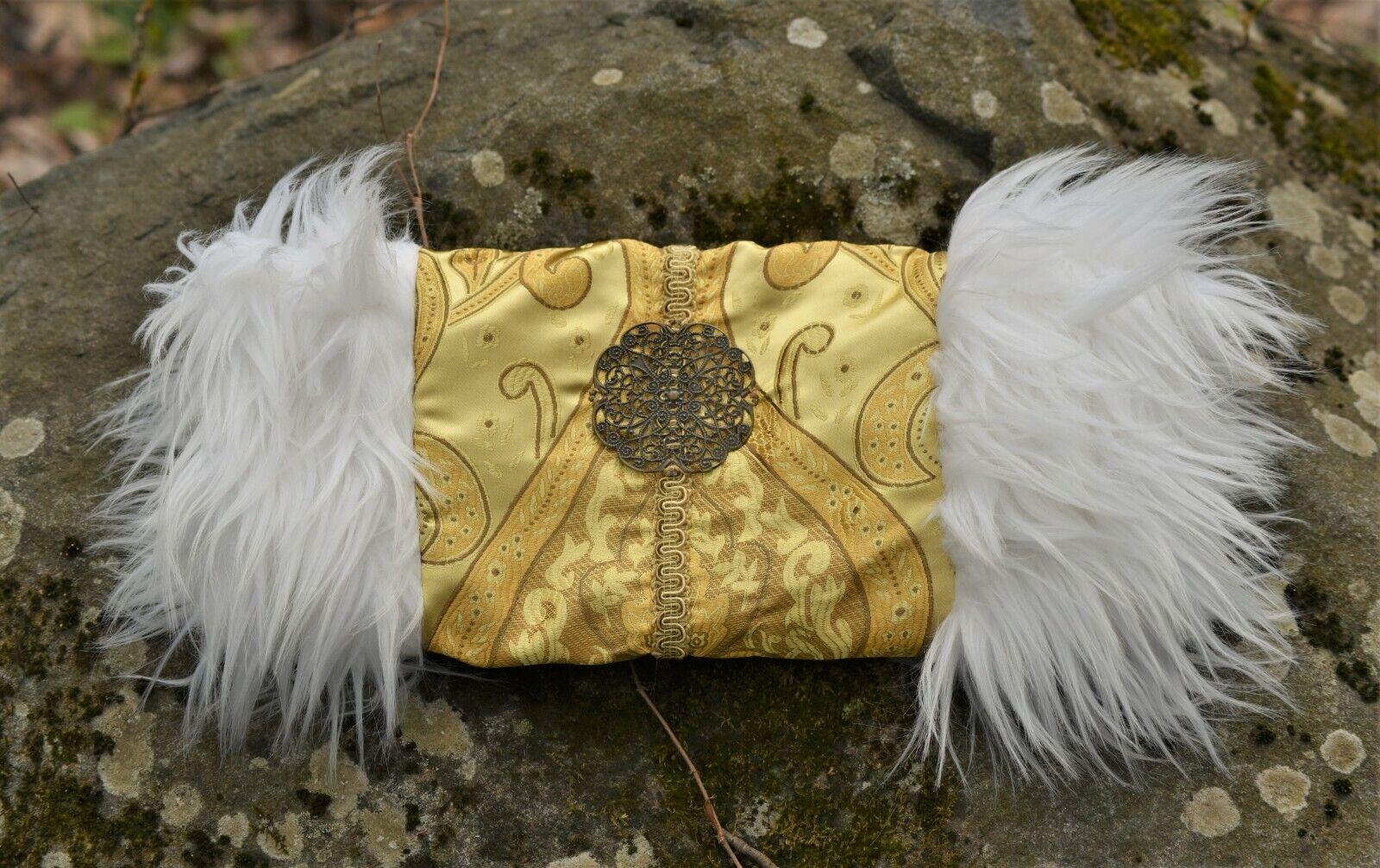 Victorian Steampunk Muff Hand Warmer White Fur, Gold Embroidered Brass Ornament