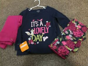 NWT-lot-Gymboree-Plum-Pony-It-s-a-Lovely-Day-Shirt-And-Floral-two-leggings-3T