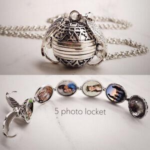 Expansion-5-Photo-Medaillon-Collier-boule-ange-aile-pendentif-Arbre-Familial-Collier