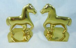 Virginia-Metalcrafters-Brass-Pair-of-Primitive-Horse-Equestrian-Bookends