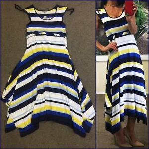 NWT-70-SUZANNE-GRAE-nautical-stripe-MAXI-DRESS-2XL-20-blue-white-resort-stretch