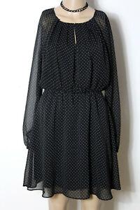 MANGO-Kleid-Gr-XS-34-36-schwarz-kurz-mini-Polkadot-Puenktchen-Chiffon-Kleid