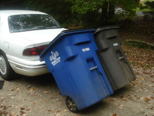Trash Tow Garbage Hauler Pull Carts Cans use Car or SUV No Hitch Needed!