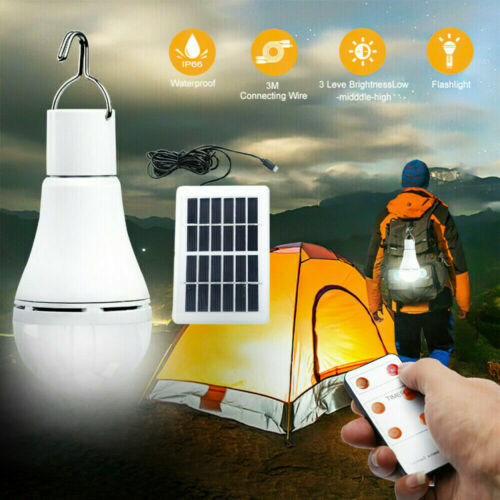 9W Solar Powered Shed Light Bulb LED Portable Hang-Up Lamp Hooking Chicken Coops