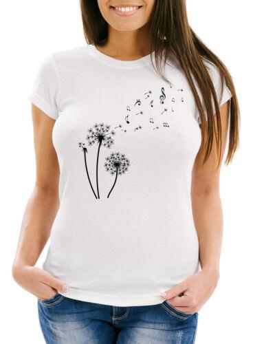 Damen T-Shirt Pusteblume Musiknoten Noten Musik Dandelion Slim Fit tailliert