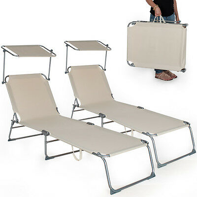 2 x Chaise longue de jardin pliante transat bain de soleil + pare soleil beige