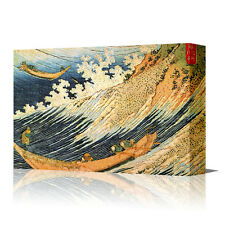 "HOKUSAI Sea Fishing Boats 16"" LARGE Framed Canvas Art Picture Japan Japanese"