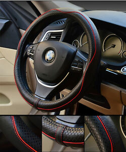 38cm RED Non-slip Handle Steering Wheel Cases Leather Car Steering Wheel Cover