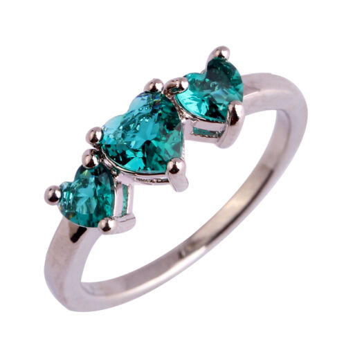 Taille 6 7 8 9 10 11 Heart Cut Green Topaz Gemstone Silver Jewelry Ring Love Style