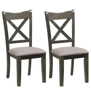 Details About 2pcs Dining Chair Wooden Cushioned High Back Dinner Seat Kitchen Furniture Gray