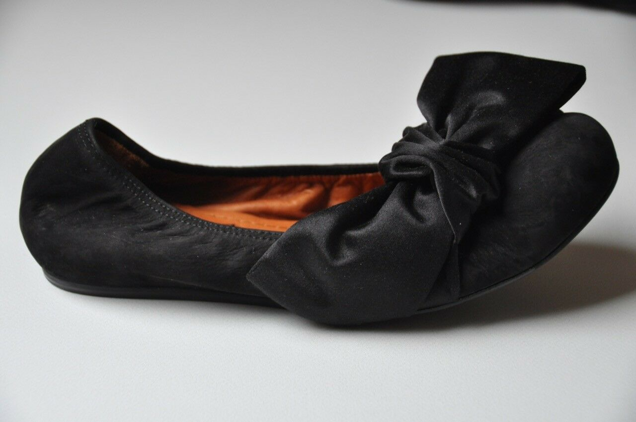 molte sorprese ORIGINALE Lanvin ballerine, scarpe fiocco seta, nero, nero, nero, tg. 36, NUOVO con OVP   vendita di fama mondiale online