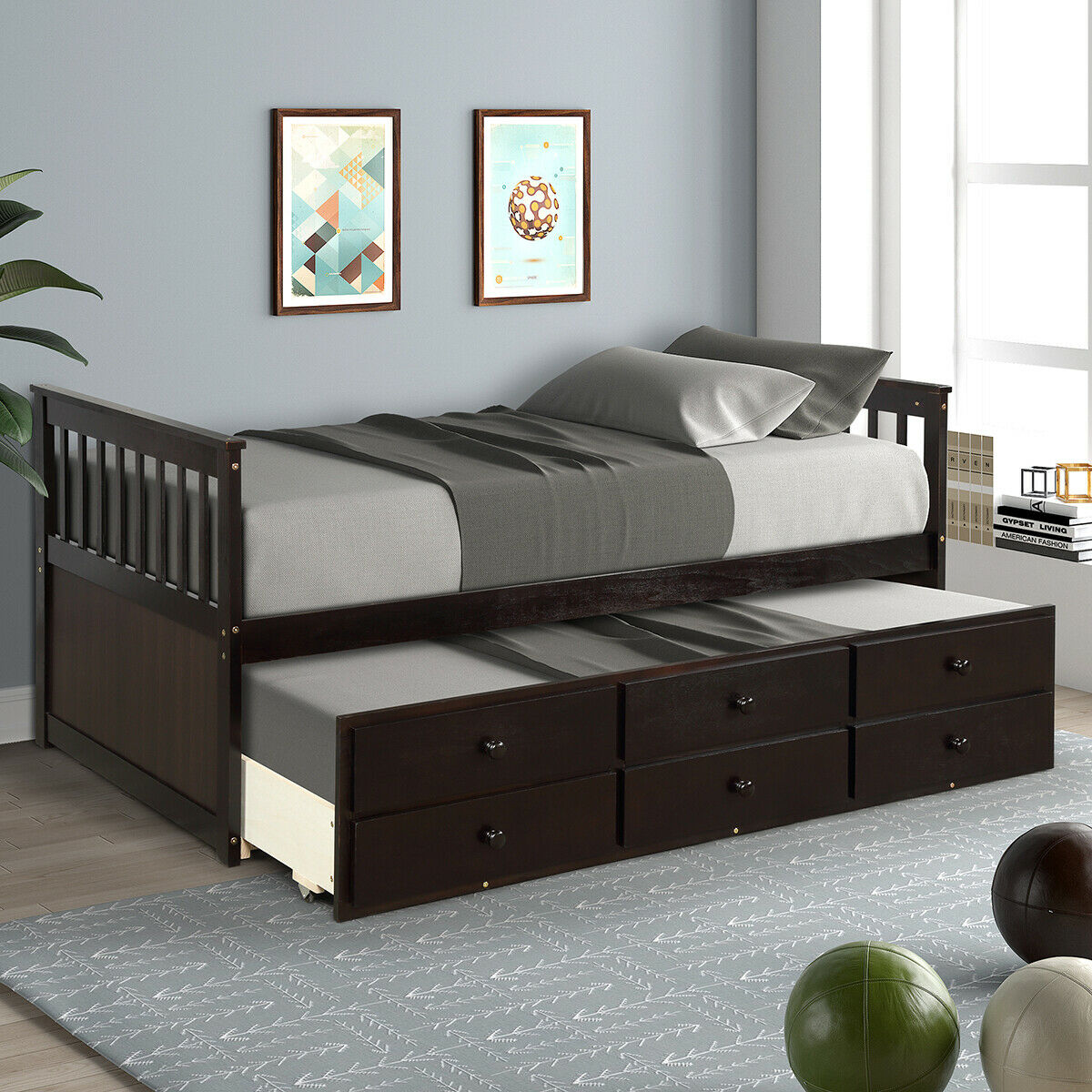 - Twin Size Mission Style Daybed With Trundle & Storage Drawers For
