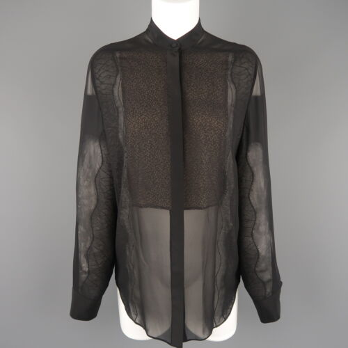 3.1 PHILLIP LIM Size S Black Silk Chiffon Lace Pan