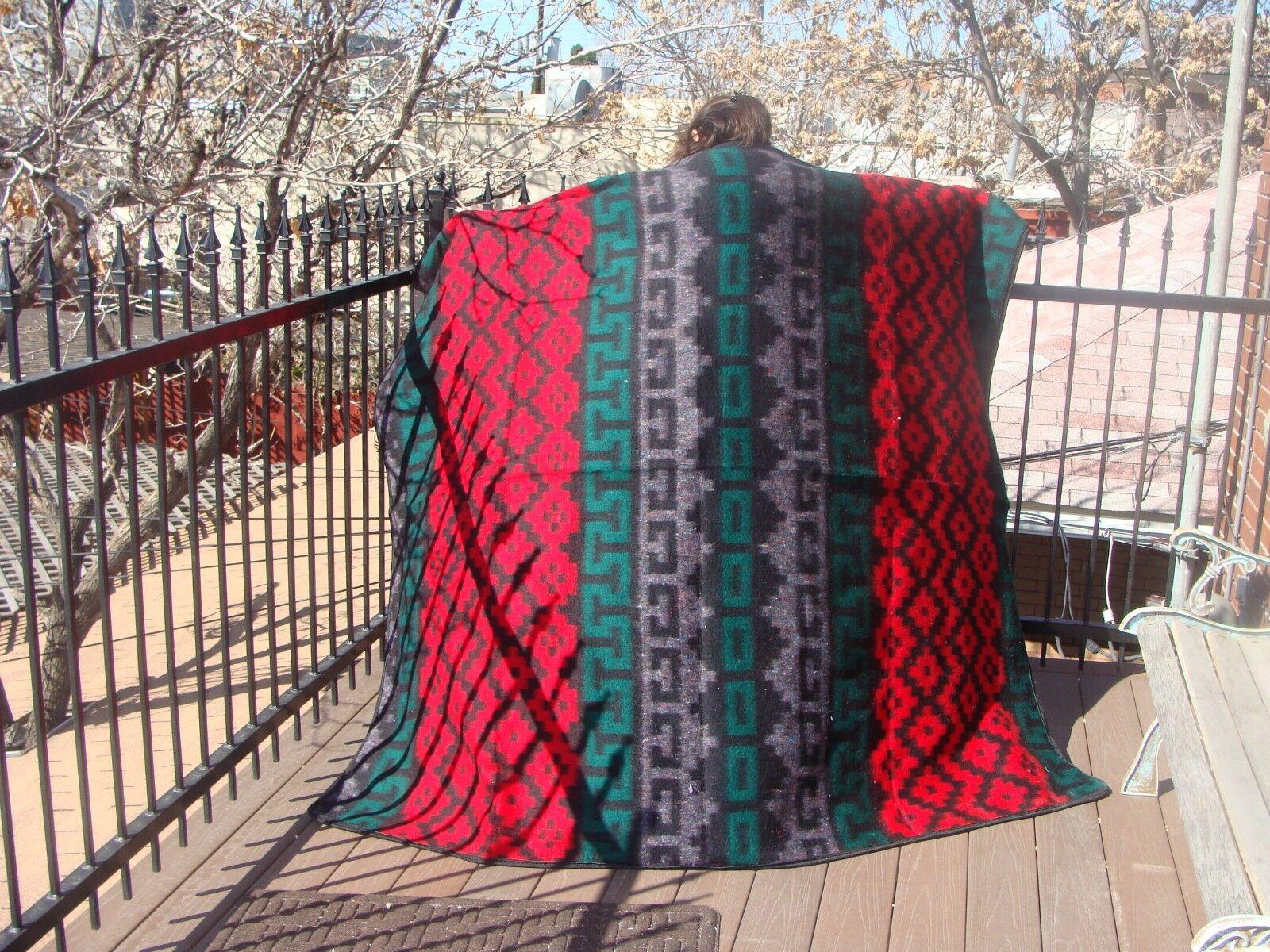 Two Recycled Geometric Design Alpaca Wool Blend Fiber Blanket 66 x84  Peru