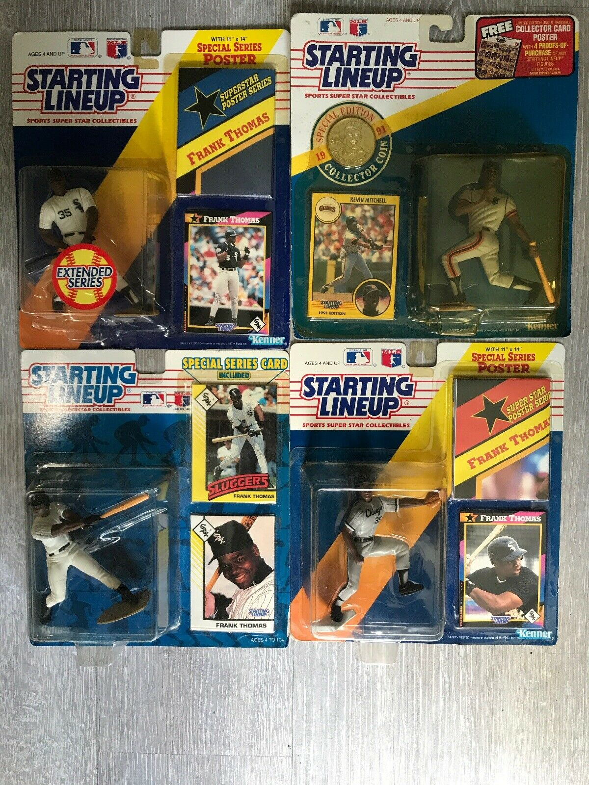 Vtg Kenner Lot Of 4 Starting Lineup Figures 1991-1993 Thomas(3)And Mitchell(1)