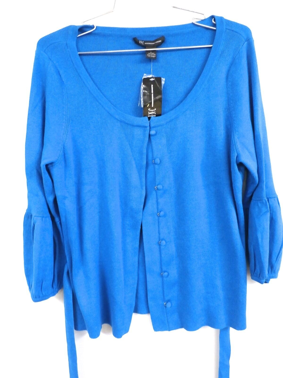 INC International Concepts Cardigan Sweater Belt Polished 1 Lunar bluee NWT  L
