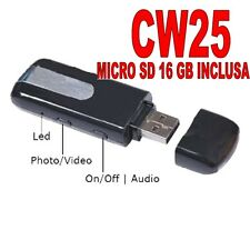 PENDRIVE LIGHT HIDDEN USB SPY MICRO CAMERA VIDEO CAMERA + MICRO SD 16GB CW25 A+