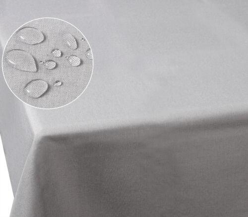 Tischdecke Lotus Leinenoptik Fleckschutz Garten wachbar Eckig 135x180cm hellgrau