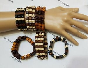 01d566ecd137d Details about 3 Layer Boho Stretchable Wooden Layered Beaded Bracelets Wood  Beads Wristband