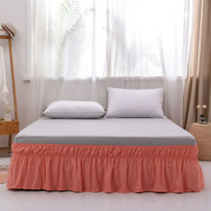 MOHAP Queen Size Bed Skirt 16/'/' Drop Dressing Dust Ruffle Wrap Around Bed White