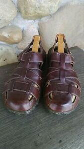 f6ba623ab Born Mens sz 12 MW Elbek Fisherman Sandals Brown Leather Woven ...