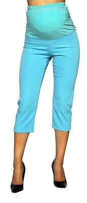 Blue Maternity Capri Fitted Pregnancy Pants Bottoms Belly Band Striped Work