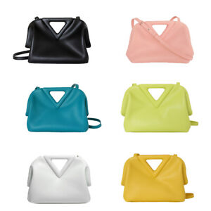 Triangle Handle Real Leather Tote Bag Clutch Clip on Frame Crossbody Purse Small