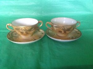 NIPPON-HAND-PAINTED-2-CREAM-SOUP-CUP-amp-SAUCER-MORIAGE-GOLD-ENCRUSTED