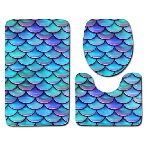 Fish Scales 3Pcs Seat Cushion Toilet Lip Cover Anti-Slip Bath Rugs Bathroom Mat
