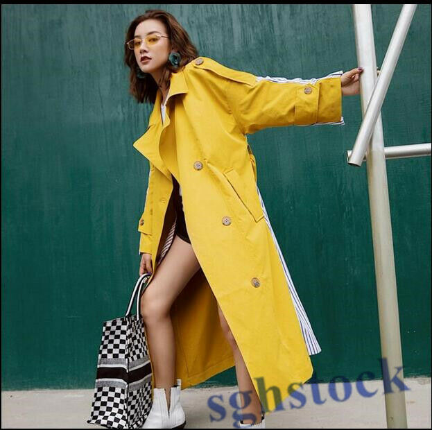 2019 Lady Yellow Lapel Belt Trench Wool Blend Knee Length New Overcoat Loose O46