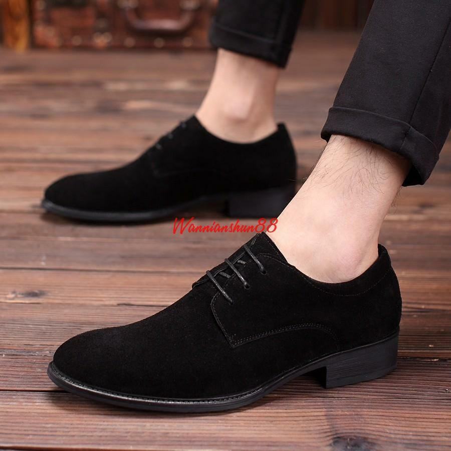 Men's Suede Leather Dress Formal Oxford Lace Up Pointed Toe Casual shoes