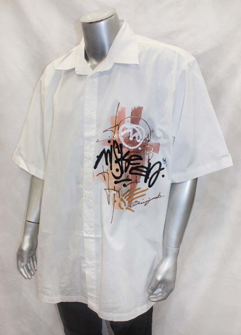 Men's White   Brown Miskeen Handpainted Short Sleeve Button Down Shirt