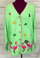 Qvc Quacker Factory Lime Green Tropical Pink Flamingos Cardigan Sweater Size Xl
