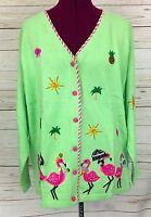 Qvc Quacker Factory Lime Green Tropical Pink Flamingos Cardigan Sweater Size Xl