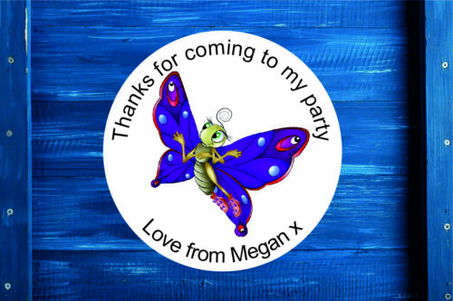 Sticker Label Seal Sweet Cone in 4 Sizes Personalised Butterfly Round Gift Bag
