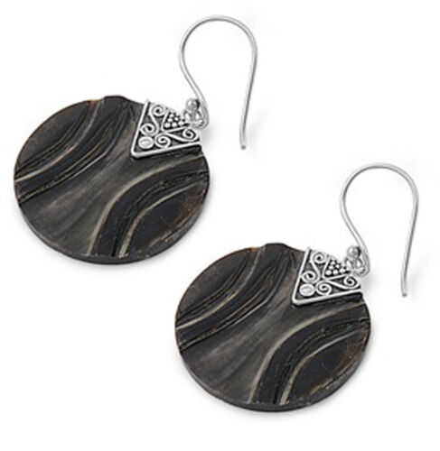 Round Circle Earrings Simulated Abalone .925 Sterling Silver