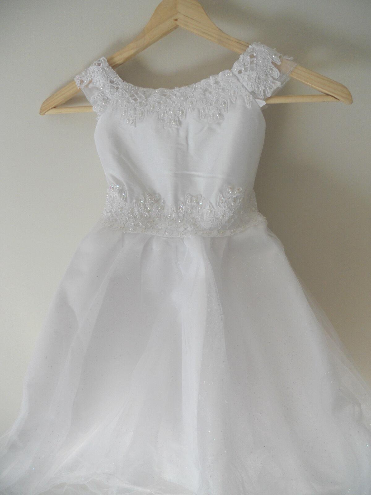 Flower Girl's Jeweled Beaded Sequin Dress Size 4 Bridal Tulle Princess Wedding