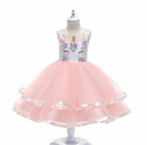 8e278362df879 USA Child Girl Unicorn Princess Floral Fluffy Gown Tutu Dress ...