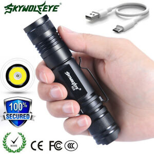 Tactical-Zoom-20000LM-XML-T6-LED-Flashlight-18650-USB-Rechargeable-Torch-US