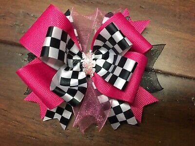 Race Car Hot Pink Stacked Boutique Hair Bow Girl Clip Checkered Flag