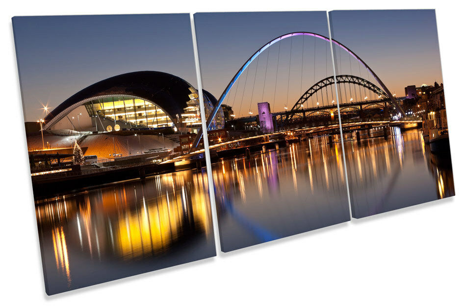 Newcastle Tyne Bridges River City TREBLE CANVAS WALL ART Print Picture