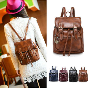Women-039-s-Small-Mini-Faux-Leather-Drawstring-Backpack-Rucksack-Travel-Casual-Purse