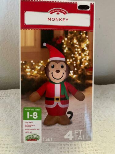 MONKEY CHRISTMAS AIR BLOWN INFLATABLE NEW IN PKG. 4 FT
