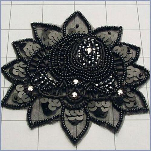 SEQUIN BEADED DESIGNER FLOWER APPLIQUE 3491-M