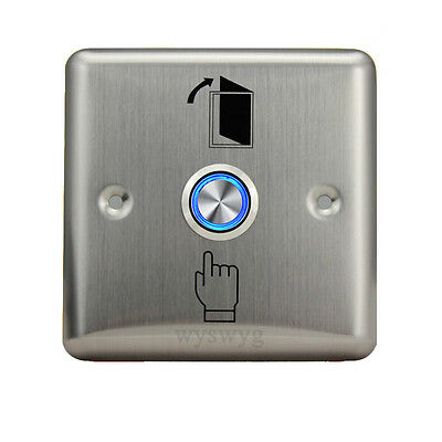 Door Stainless Steel Momentary Exit Release Button Switch With 12V LED