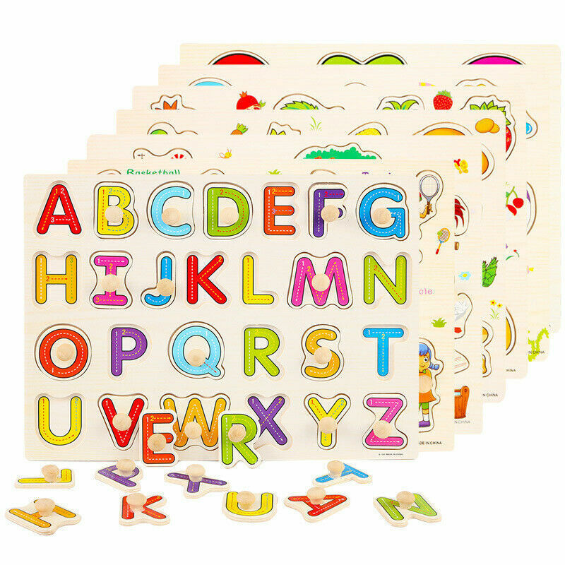 Children Kids Alphabet ABC Numbers 123 wooden jigsaw learning educational puzzle 2