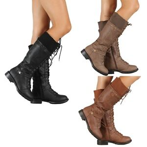 New-Womens-Military-Combat-Fashion-Boots-Lace-Up-Knee-High-Low-Flat-Heel-boot