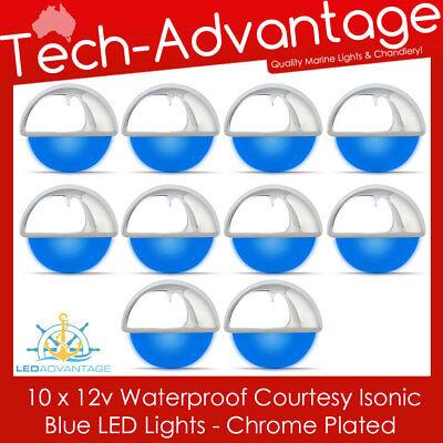 12V ISONIC BLUE LED FLUSH MOUNT WATERPROOF CHROME COURTESY BOAT STEP STAIR LIGHT